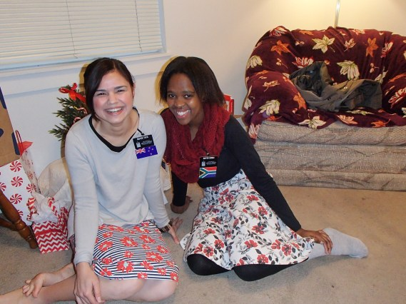 Room-mate, Sister Sonku from Cape Town South Africa and I. Our Christmas corner :)